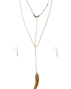 Shyanne® Women's Gold Feather Jewelry Set, Gold, hi-res
