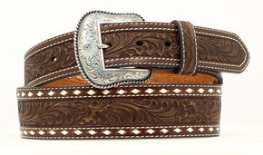 Nocona Tapered Floral Tooled Western Belt, Brown, hi-res