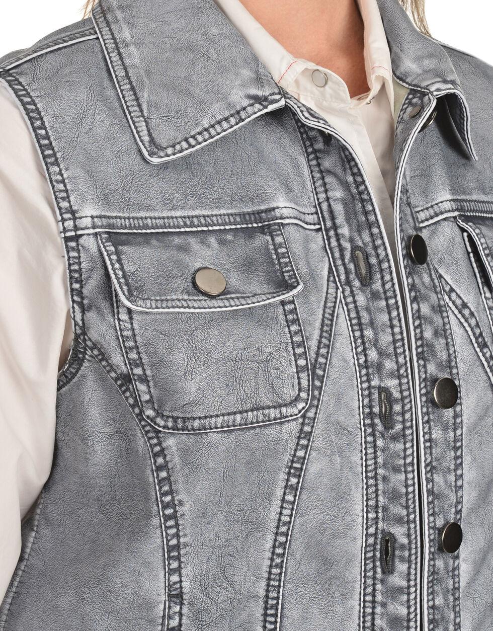 Erin London Women's Gray Faux Leather Vest, Blue, hi-res