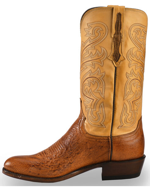 Lucchese Men's Handmade Light Brown Nathan Smooth Ostrich Boots - Round Toe , Lt Brown, hi-res