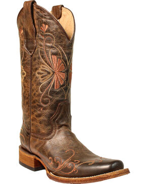 Corral Women's Brown Floral Shedron Embroidery Boots - Square Toe , Brown, hi-res