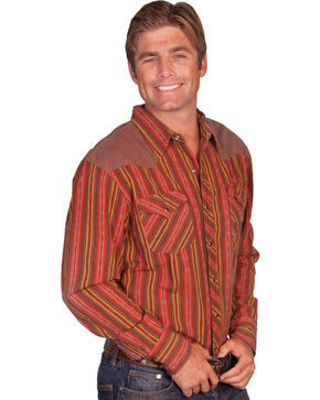 Scully Brown Yokes Striped Western Shirt, Red, hi-res