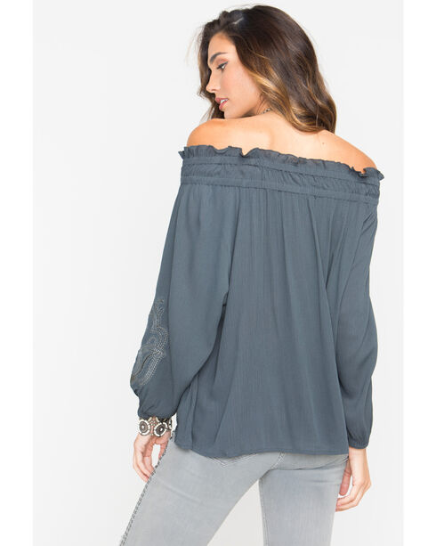 Miss Me Women's Embroidered Off-The-Shoulder Long Sleeve Top, Charcoal, hi-res