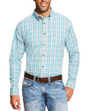 Ariat Men's Turquoise Emmett Long Sleeve Shirt, Turquoise, hi-res