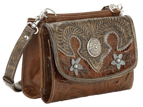 American West Desert Wildflower Crossbody Bag, Brown, hi-res