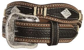 Nocona Scalloped Basketweave Rawhide Laced Concho Belt, Black, hi-res