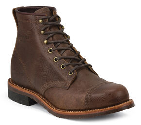 Chippewa Men's Pebbled General Utility Homestead Boots - Round Toe, Dark Brown, hi-res