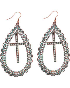 Shyanne Women's Teardrop Cross Earrings, Turquoise, hi-res