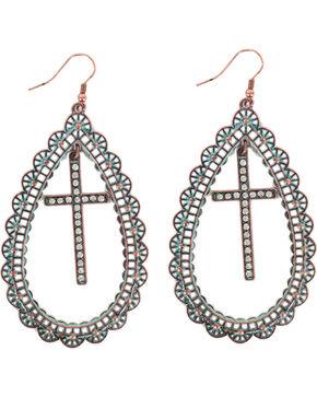 Shyanne Women's Teardrop Cross Earrings, Turquoise, hi-res
