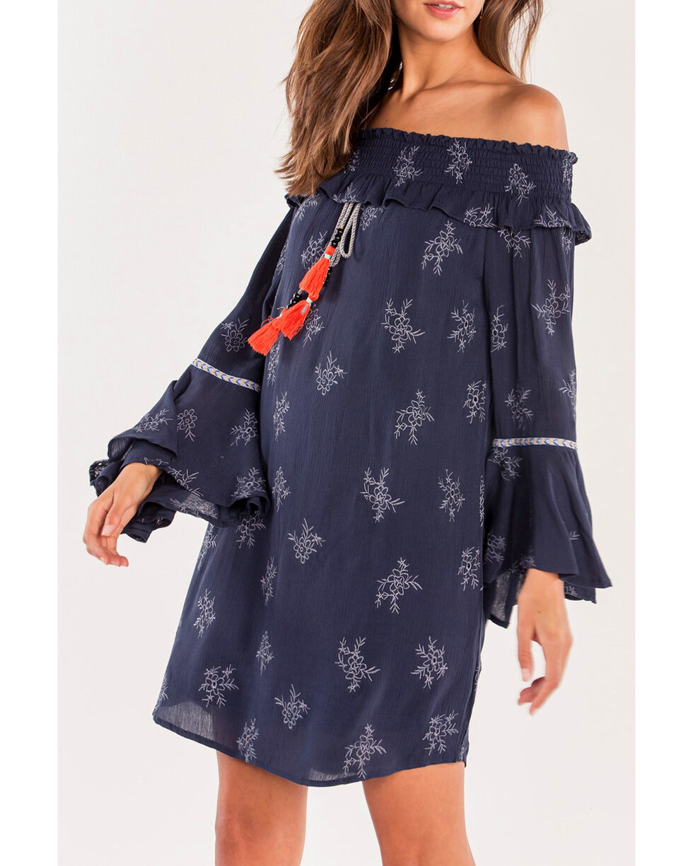 Miss Me Women's Fall Fling Dress, Navy, hi-res