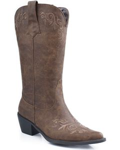 Roper Embroidered Faux Leather Cowgirl Boots - Pointed Toe, , hi-res