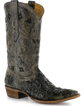 "Corral Men's 13"" Caiman Inlay Exotic Western Boots - Snip Tpe, Black, hi-res"