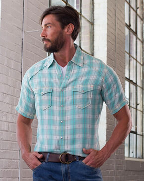 Ryan Michael Men's Seafoam Ombre Plaid Shirt , Light Green, hi-res