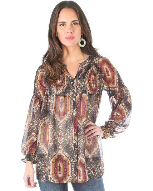 Wrangler Women's Allover Print Long Sleeve Blouse , Multi, hi-res