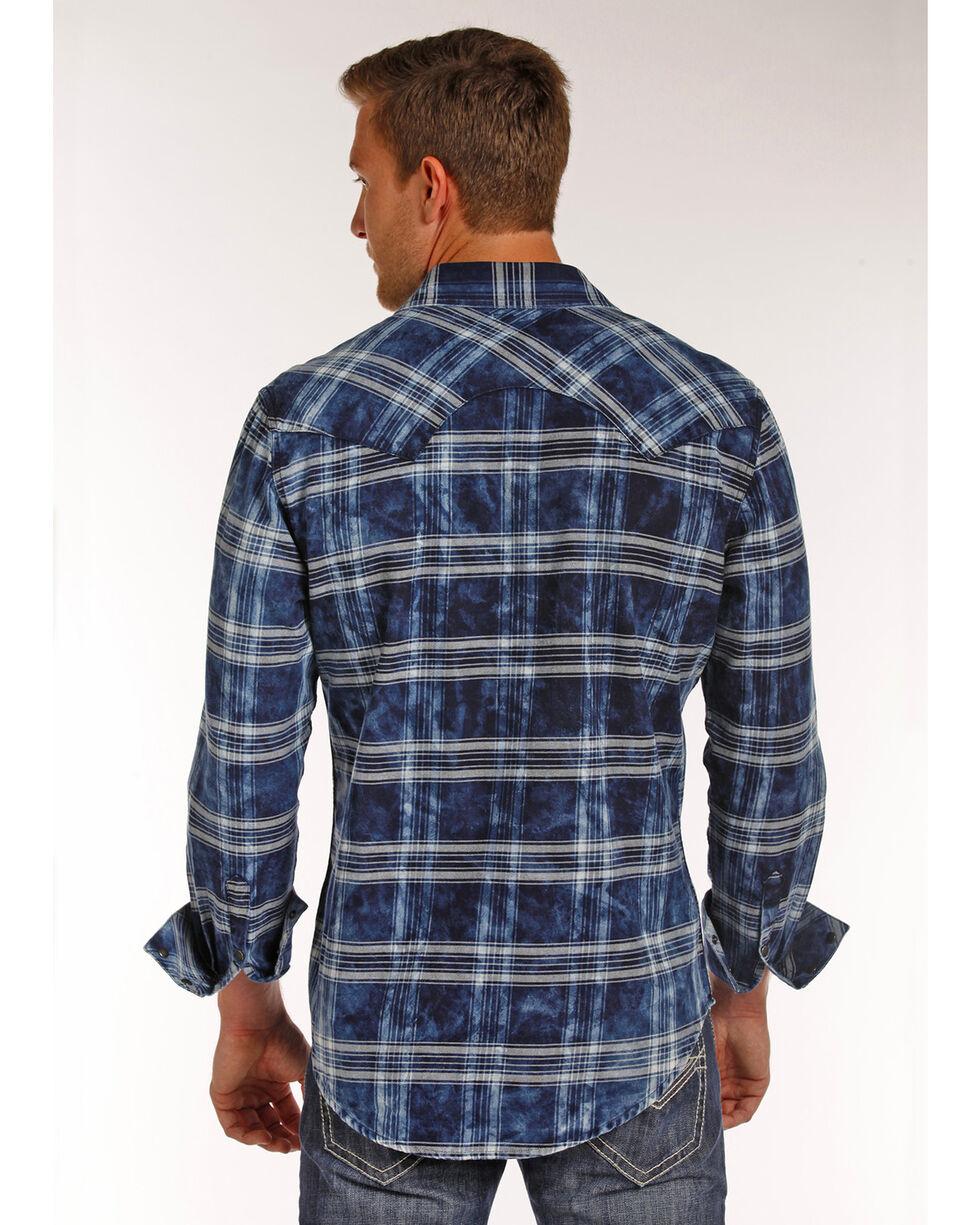 Rock & Roll Cowboy Men's Bleach Washed Plaid Shirt , Blue, hi-res