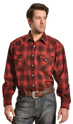 Pendleton Turquoise and Grey Plaid Snap Front Western Canyon Shirt, , hi-res
