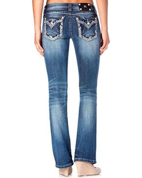 Miss Me Women's Blue Studded Flap Jeans - Boot Cut , Blue, hi-res