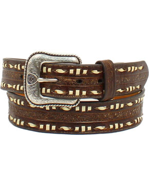 Ariat Men's Ivory Lacing Embossed Leather Belt, Brown, hi-res