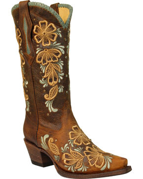 Corral Women's Floral Embroidered Studs and Crystals Cowgirl Boots - Snip Toe, Brown, hi-res