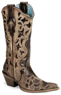 Corral Chocolate Tooled Cowgirl Boot - Pointed Toe, , hi-res