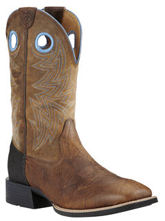 Ariat Bar Top Brown Heritage Cowhorse Performance Cowboy Boots - Square Toe , , hi-res