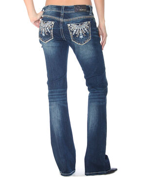 Grace in LA Women's Floral Bling Boot Cut Jeans - Plus Size, Indigo, hi-res