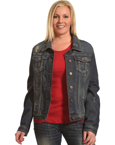 Boom Boom Jeans Women's Blue Vintage Denim Jacket - Plus Size , Blue, hi-res