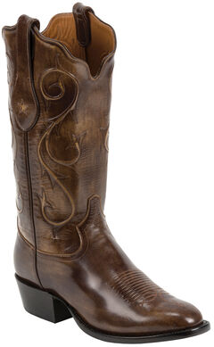 Tony Lama Brown Brushed Signature Series Goat Western Boots - Square Toe , , hi-res