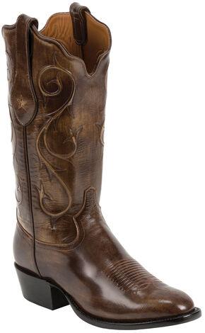 Tony Lama Brown Brushed Signature Series Goat Western Boots - Square Toe , Brown, hi-res