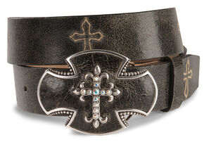 Justin Bent Rail Distressed Leather Western Belt, Black, hi-res