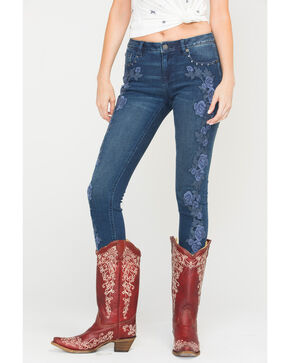 Miss Me Women's Indigo Budding Romance Mid-Rise Jeans - Skinny , Indigo, hi-res