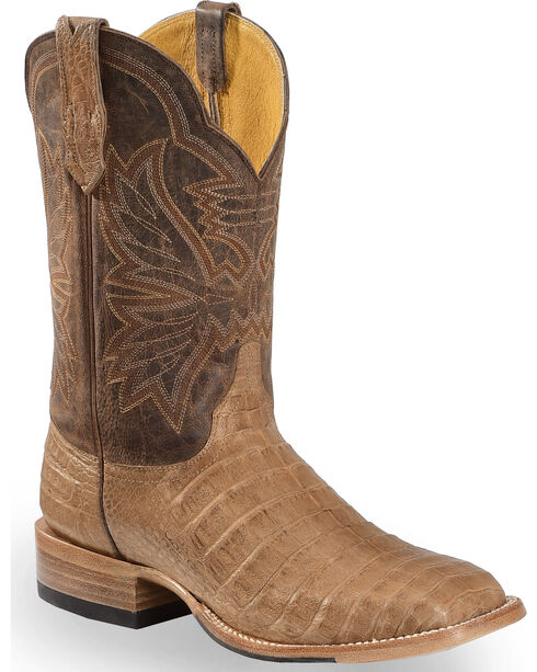 Cinch Classic Caiman Mad Dog Goatskin Cowboy Boots - Square Toe, Chocolate, hi-res