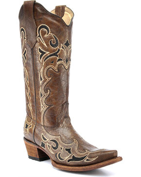 Corral Women's Honey Side Embroidered Boots - Snip Toe , Honey, hi-res
