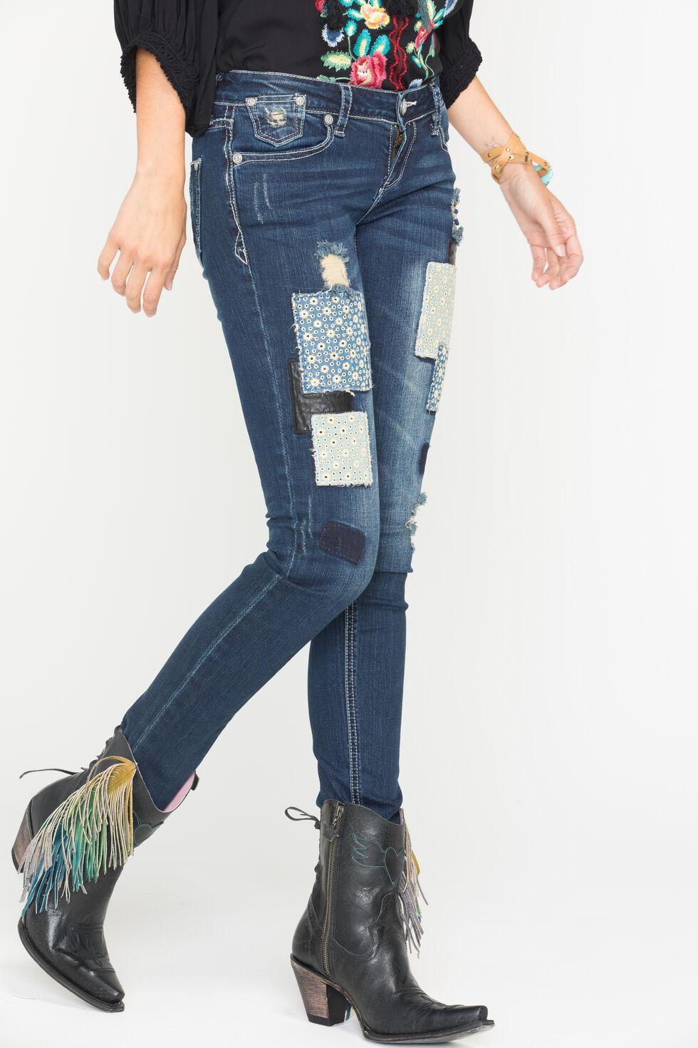 Grace in LA Women's Skinny Patchwork Jeans , Indigo, hi-res