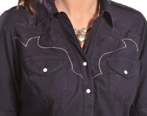 Ryan Michael Women's Lace Yoke Shirt Dress, Indigo, hi-res