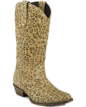 Roper Sanded Suede Leopard Print Cowgirl Boots - Square Toe, Leopard, hi-res