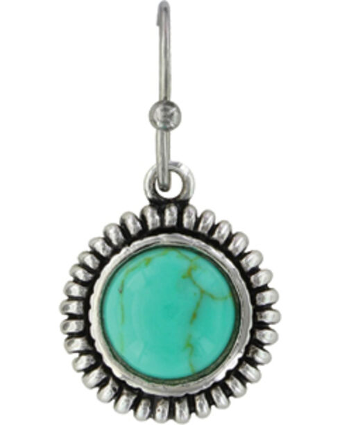 Montana Silversmiths Women's Turquoise Sunflower Earrings , Silver, hi-res