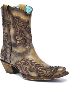 Corral Vintage Brown Burnished Embroidered Side Short Cowgirl Boots - Square Toe , Brown, hi-res