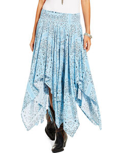 Ariat Women's Blue Hankie Skirt , Medium Blue, hi-res
