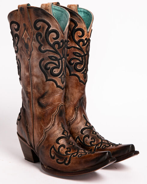 Corral Women's Cord Stitch Cowgirl Boots - Snip Toe, Brown, hi-res