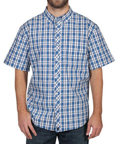 Cody James Men's Button Down Plaid Short Sleeve Shirt , Turquoise, hi-res