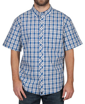 Cody James Men's Button Down Plaid Short Sleeve Shirt , Turquoise, hi-res