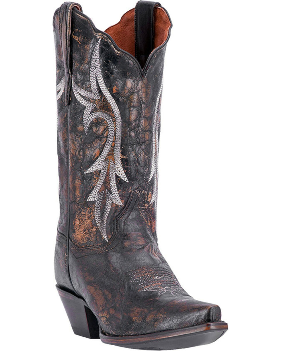 Dan Post Women's Knockout Distressed Leather Western Boots - Snip Toe, Black, hi-res