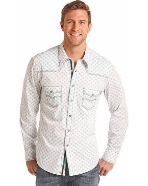 Rock & Roll Cowboy Men's Brushed Bleach Wash Print Long Sleeve Shirt, Aqua, hi-res