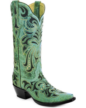 Corral Women's Embroidered Cowgirl Boots - Snip Toe, Turquoise, hi-res
