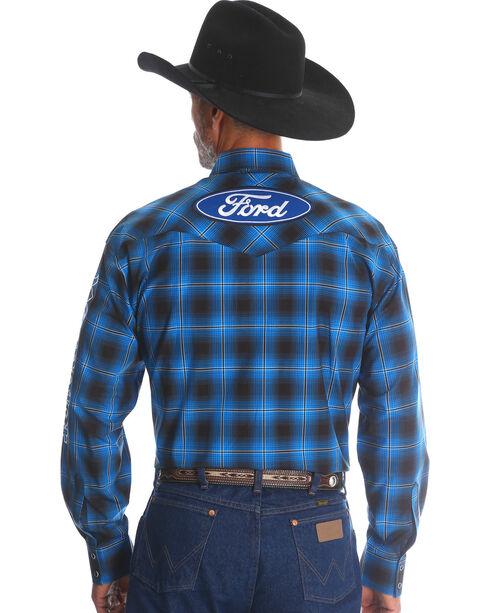 Wrangler Men's Ford Plaid Western Logo Shirt - Tall, Blue, hi-res