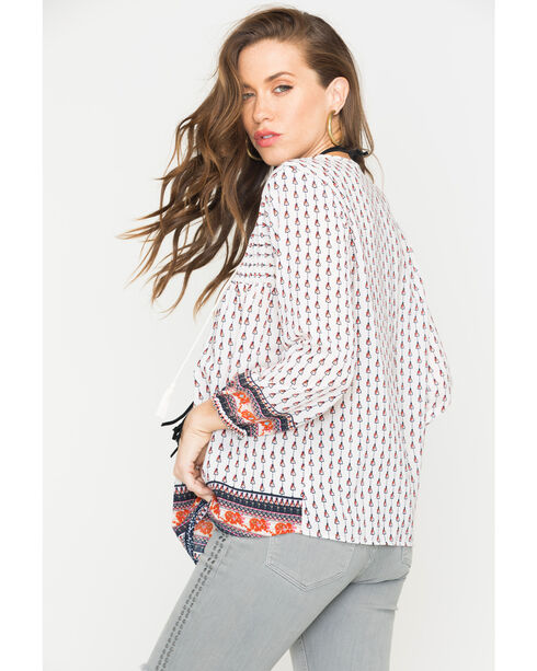 New Direction Sport Women's White Border Print Top , White, hi-res