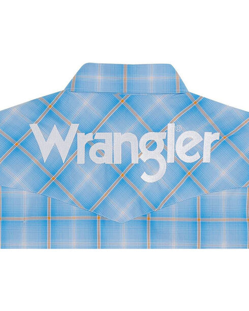 Wrangler Men's Blue Western Logo Long Sleeve Shirt , Blue, hi-res
