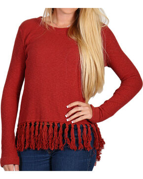 Shyanne Women's Long Sleeve Fringe Knit Cross Back Sweater, Rust Copper, hi-res