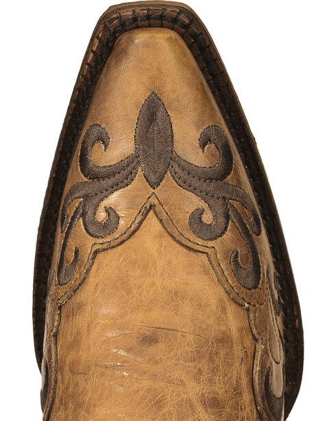 Corral Vintage Tan Embroidered Overlay Cowgirl Boots - Snip Toe, Tan, hi-res